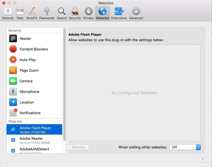 Adobe Flash enable Safari