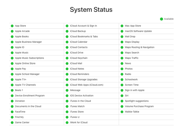 Apple System Status Page