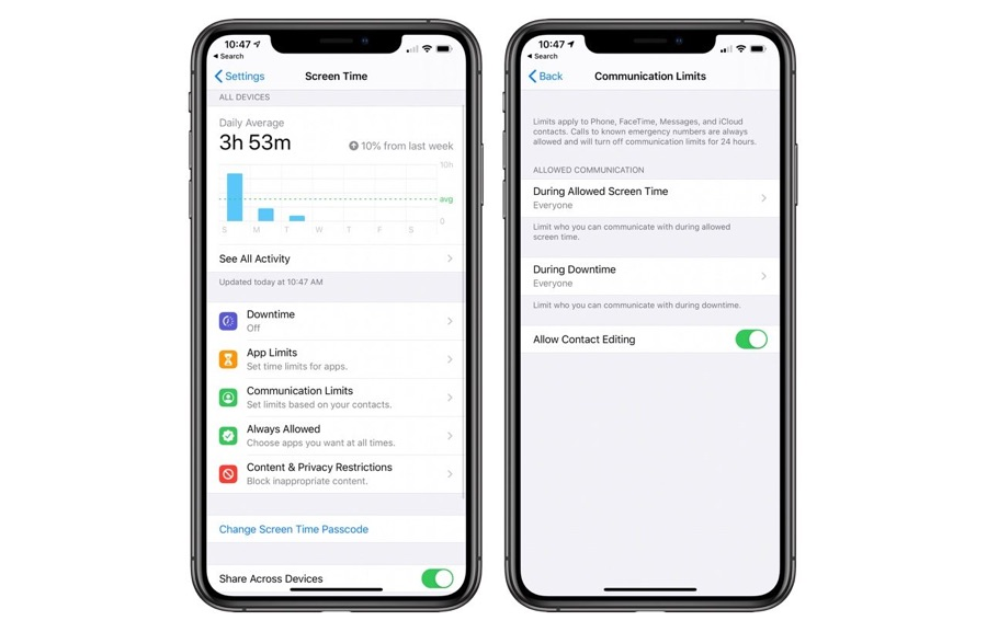 Commnication limits iOS 13.3