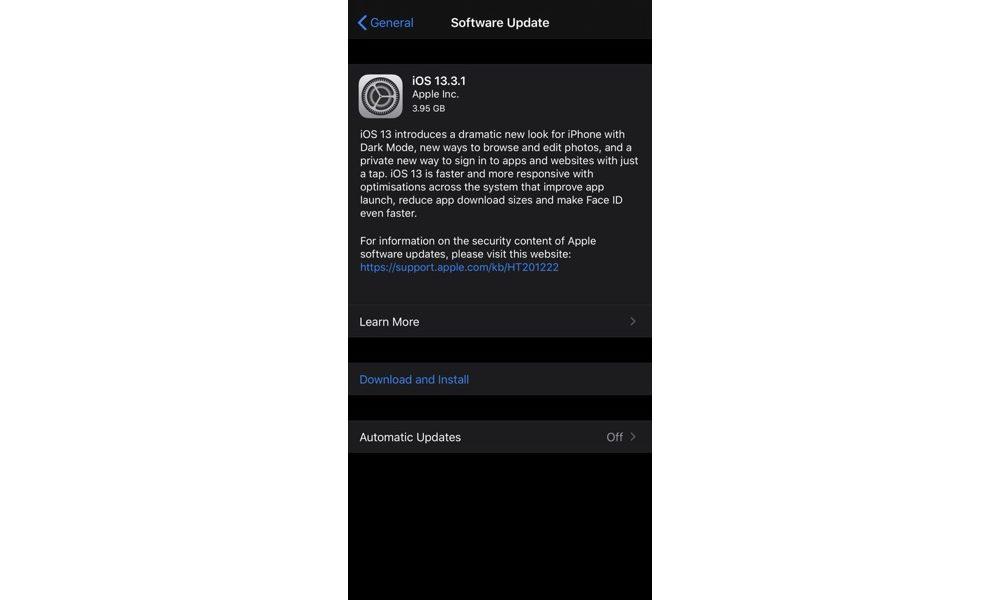 iOS 13.3.1 Update