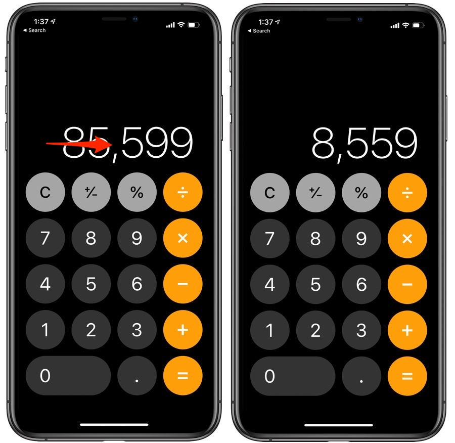 Calculator app erase digit