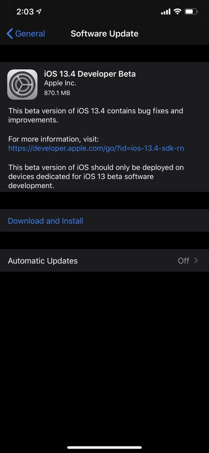 iOS 13.4 developer beta 1