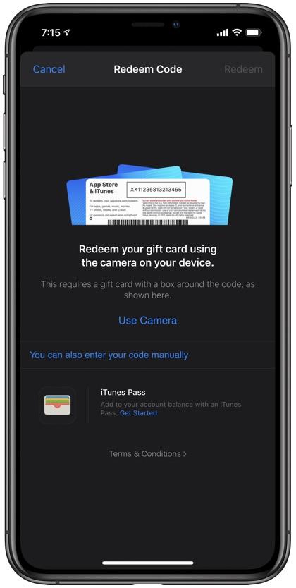 Redeem Apple Gift Card on iPad