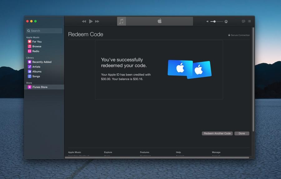 Redeem Apple Gift Card on Mac