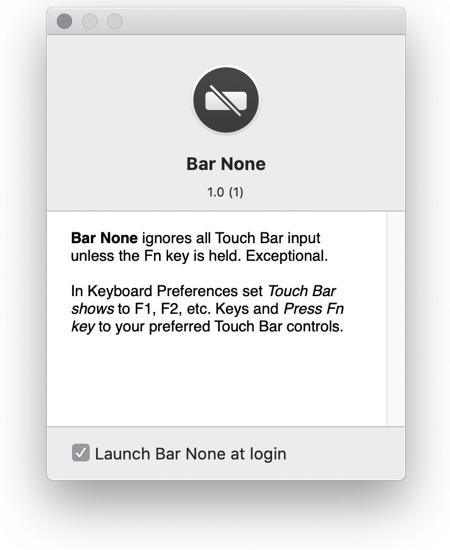 Bar None app touch bar
