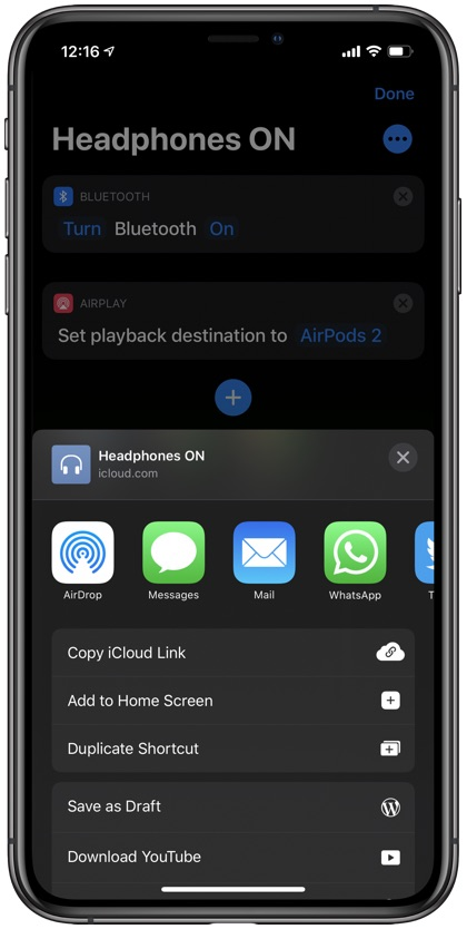 Connect AirPods Quickly shortcut