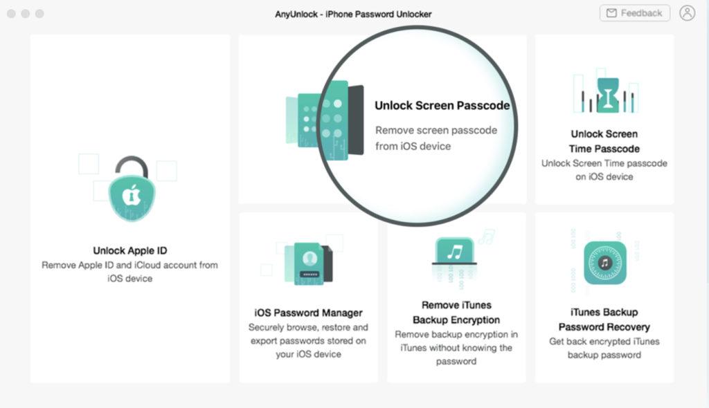 AnyUnlock Passcode unlock
