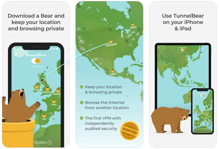 TunnelBear VPN App iPhone - 500MB free