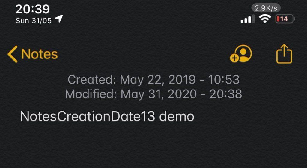 NotesCreationDate13 tweak
