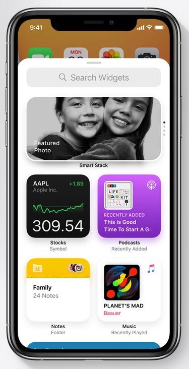 Widget gallery iOS 14