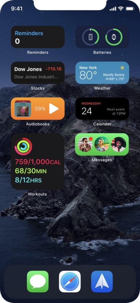 iOS 14 widgets compact concept