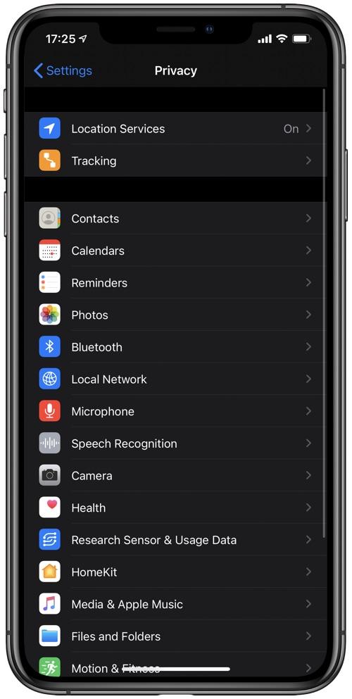 Ρυθμίσεις απορρήτου iOS 14