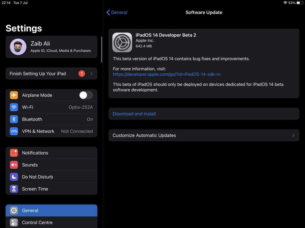 iPadOS 14 developer beta 2