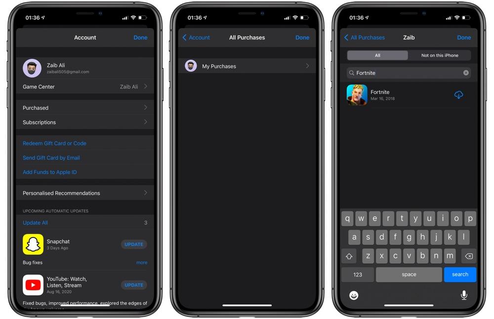 Επανάληψη λήψης του Fortnite σε iPhone ή iPad