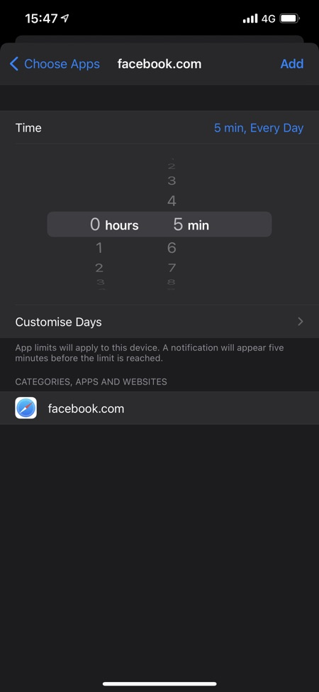 Webbplatsgränser för iPhone Safari