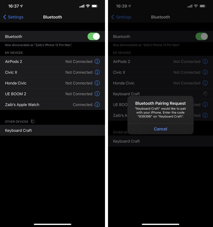 συνδέστε το εξωτερικό πληκτρολόγιο στο iPhone