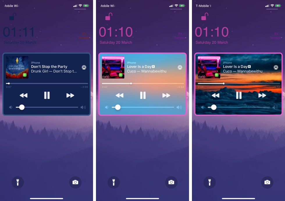 Playour Tweak Adds A Background And Border To Music Player Widget - iOS Hacker