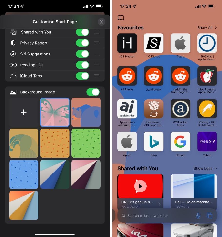 Αλλαγή εικόνας φόντου Safari στο iPhone