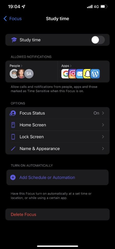 διαγράψτε μια προσαρμοσμένη εστίαση στο iPhone